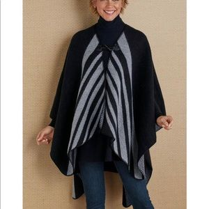Soft Surroundings Whistler Poncho wrap cape black